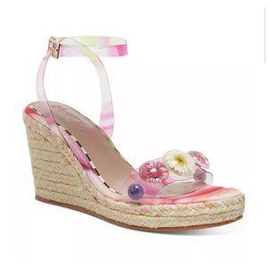 Betsey Johnson Elli Pink Floral Lucite Wedge Heel